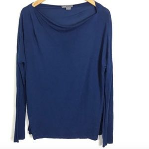 Vince. Small Shirt Long Sleeve Blue Boat Neck S